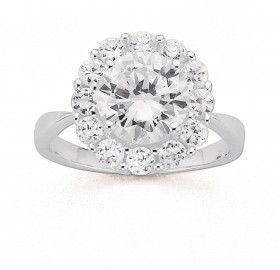 Sterling-Silver-Cubic-Zirconia-Flower-Ring on sale