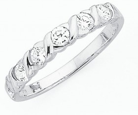 Sterling-Silver-Cubic-Zirconia-Hugs-Kisses-Ring on sale