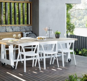 Kanto-Castor-Table-2400-X-1000mm-6-Finn-Chairs-White on sale