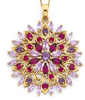 9ct-Natural-Ruby-Garnet-Amethyst-Pink-Amethyst-Pendant on sale