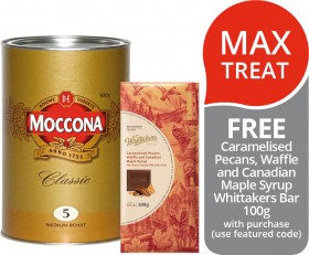 Moccona-Classic-Freeze-Dried-Instant-Coffee-FREE-CARAMELISED-PECANS-WAFFLE-AND-CANADIAN-MAPLE-SYRUP-WHITTAKERS-BAR-100G-WITH-PURCHASE on sale