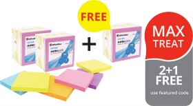 OfficeMax-Bright-Colours-Self-Stick-Notes-21-FREE on sale