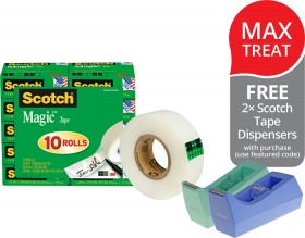 Scotch-Magic-810-Invisible-Tape-FREE-2-SCOTCH-TAPE-DISPENSERS-WITH-PURCHASE on sale