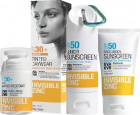 15-off-Invisible-Zinc-Sunscreen-Range on sale