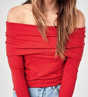 Womens-Long-Sleeve-Off-the-Shoulder-Top on sale